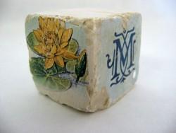 Cube 'Nénuphars bleu et jaune'